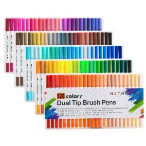 Hethrone 水彩毛筆 120色 コピックマーカー カーラーペン ブラシペン 両端ペン先 こぴっく 塗り絵セット、描画、落書き用 120色セット|sa69shioutlet