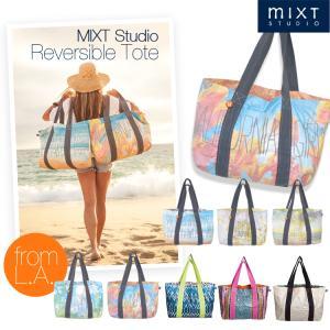 MIXT Studio Reversible Tote ビーチバッグ 海 プール エコバッグ トート リバーシブル ボタニカル ハワイ リゾート サンフランシスコ 正規品 セール|sabb