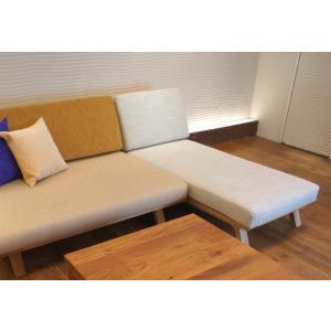 BM Sofa 1人掛けロング 選べる背もたれフラットタイプ ローソファー カウチソファ ナラ無垢材|sabisabi-web