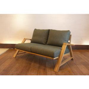 RM Sofa 2人掛けソファ 選べる背もたれシリコン綿タイプ ナラ無垢材|sabisabi-web