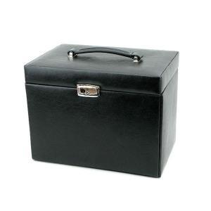 ジュエリーボックス/ジュエリーケース (BESTA) 合成皮革/ミラー 幅27cm 鍵/収納ポーチ付き ブラック(黒)〔代引不可〕 収納家具|sac