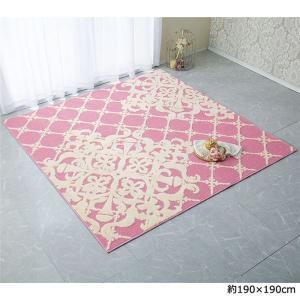 クラシックデザインラグ/絨毯 〔ピンク 約95cm×130cm〕 日本製 洗える 抗菌防臭加工 〔リ...