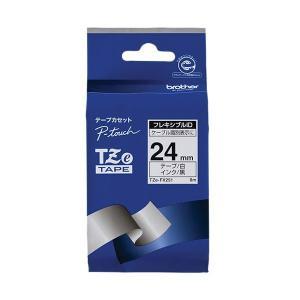 (まとめ)ブラザー ピータッチ TZeテープフレキシブルIDテープ 24mm 白/黒文字 TZE-F...