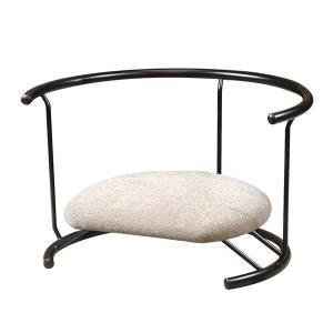 【商品名】 あぐら椅子/正座椅子 【背もたれ付き モスホワイト×ブラック】 幅60cm 耐荷重80k...
