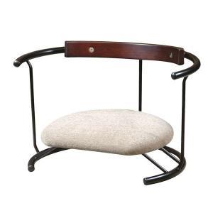 あぐら椅子/正座椅子 〔スウィング背もたれ付き モスホワイト×ブラック〕 幅60cm 耐荷重80kg...