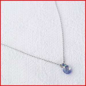 ネックレス アクセサリー チェーン レディース ロング アジャスター 結婚式 誕生日 ペンダント てふてふ おしゃれ かわいい プレゼント ガラス 花 青 ブルー|sac
