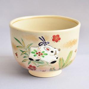 茶碗 茶道具 加藤松香 作 乾山面取 松竹梅に鈴茶碗|sadogu-kikuchi