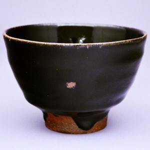 茶道具 茶碗 濱田 晋作 造 益子焼 黒釉茶碗|sadogu-kikuchi