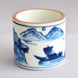 蓋置 茶道具 清宝窯 染付山水蓋置|sadogu-kikuchi