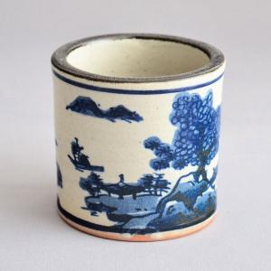蓋置 茶道具 黒石窯 古染付山水蓋置|sadogu-kikuchi