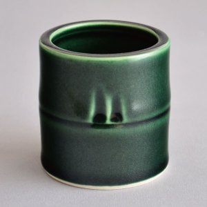 蓋置 茶道具 西尾瑞豊 作 青釉竹蓋置|sadogu-kikuchi