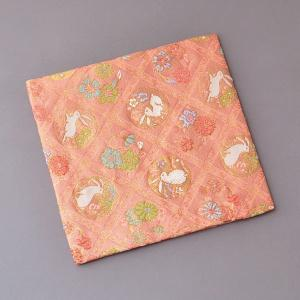 古帛紗 化繊交織 格子花に兎文 茶道具|sadogu-kikuchi