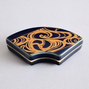 香合 茶道具 瑠璃釉扇面光琳水香合|sadogu-kikuchi
