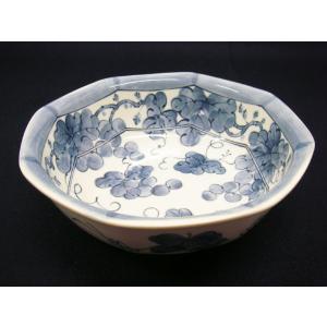 【茶道具 菓子器】雪峰窯 染付葡萄菓子鉢|sadogu-kikuchi