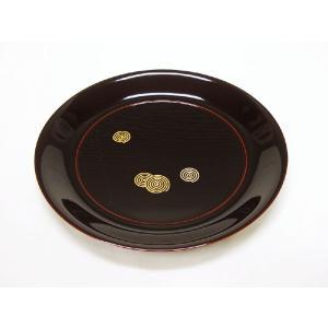 【茶道具 干菓子器】木簡製 溜塗渦蒔絵丸盆|sadogu-kikuchi