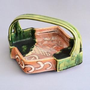 菓子鉢 茶道具 桑原小三郎 作 鳴海織部 松皮菱手付鉢|sadogu-kikuchi