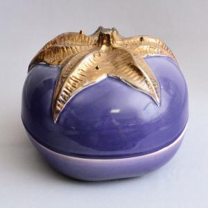 菓子鉢 茶道具 西尾瑞豊 作 紫釉茄子喰籠|sadogu-kikuchi