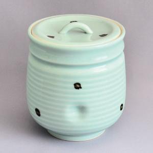 水指 茶道具 清宝窯 飛青磁ダルマ水指|sadogu-kikuchi
