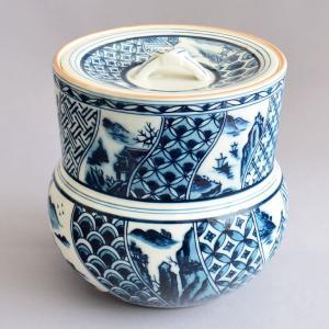 水指 茶道具 清宝窯 染付丸紋水指|sadogu-kikuchi