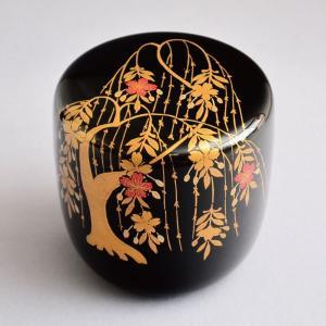 茶道具 棗 筑城筑良作 柳桜蒔絵 大棗 木製・本漆塗・切合口 sadogu-kikuchi