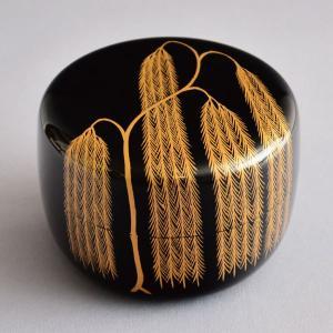 茶道具 棗 筑城筑良作 柳蒔絵平棗 木製・本漆塗・切合口 sadogu-kikuchi