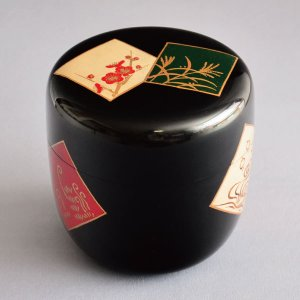 茶道具 棗 筑城筑良作 色紙蒔絵大棗 木製・本漆塗・切合口 sadogu-kikuchi