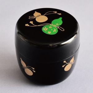 茶道具 棗 樹脂製 黒塗 瓢蒔絵 中棗|sadogu-kikuchi
