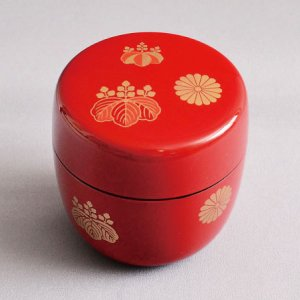 茶道具 棗 樹脂製 朱塗 高台寺蒔絵 中棗|sadogu-kikuchi