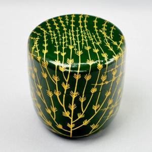 【茶道具 棗】筑城筑良 作 青漆和紙張 芽張柳蒔絵 中棗(木製・切合口)|sadogu-kikuchi