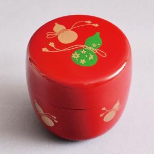 茶道具 棗 樹脂製 朱塗 瓢蒔絵 中棗|sadogu-kikuchi