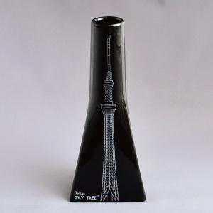 東京スカイツリー(R) 花入 黒釉に銀 オフィシャルグッズ sadogu-kikuchi