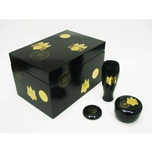 【茶道具 茶箱】茶箱 黒掻合塗 高台寺蒔絵(3点セット付)|sadogu-kikuchi