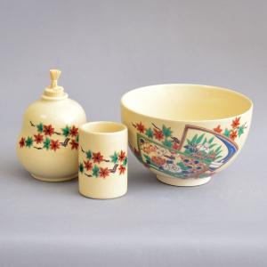 【茶道具 茶箱】加藤昌山 作 茶箱用赤絵花鳥茶碗3点セット|sadogu-kikuchi