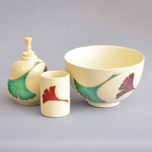 【茶道具 茶箱】加藤昌山 作 茶箱用銀杏茶碗3点セット|sadogu-kikuchi