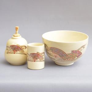 【茶道具 茶箱】加藤昌山 作 茶箱用菊桐茶碗3点セット|sadogu-kikuchi