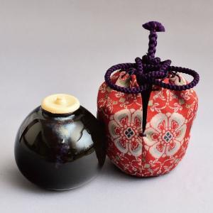 茶入 茶道具 茄子茶入 花鳥梅花文錦(龍村裂・正絹仕覆)|sadogu-kikuchi