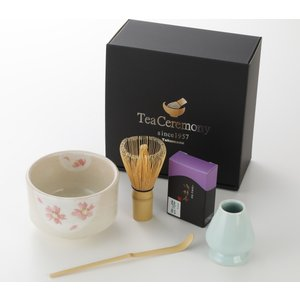 かわいい花柄の抹茶碗 お抹茶セット 5点 茶筅直し付き 茶道具