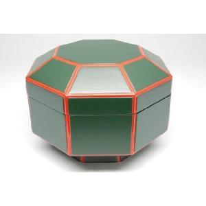 八角喰籠(菓子器) 一閑青漆爪紅 桐箱入り 茶道具|sadogu-nanakusa