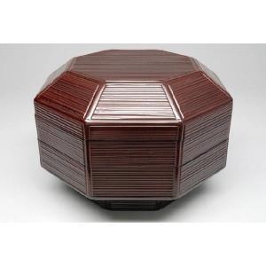 八角喰籠(菓子器) 溜塗 片木目 桐箱入り 茶道具|sadogu-nanakusa