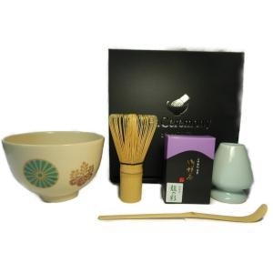 茶道具 抹茶セット(4点) 花菱・七宝・マリ・高台寺|sadogu-nanakusa