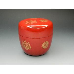 【茶道具】 新品 中棗 高台寺 色蒔絵 朱塗 樹脂製 日本製|sadogu-nanakusa