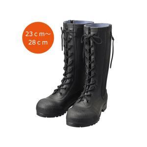 消防団員用ゴム編上長靴 HSS-001 ブラック 23.0cm〜28.0cm |safety-japan