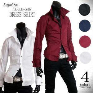 ◆説明:アンティークボタン仕様のWカフスシャツです♪  ウエストシェイプで大きめの襟で美シルエットの...