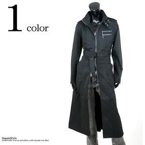ロングコート トレンチ メンズ ヴィジュアル系 黒 スタンドカラー Wジップ|saganstyle