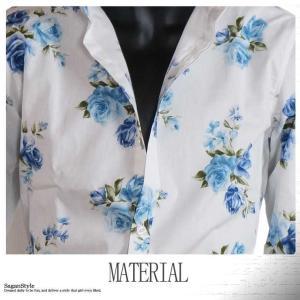 大花柄シャツ メンズ 花柄 薔薇柄 ドレスシャツ 日本製 ホワイト 白 ブルー 青 M L LL|saganstyle|11