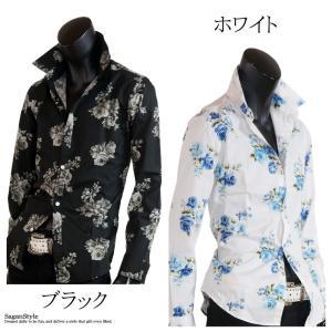 大花柄シャツ メンズ 花柄 薔薇柄 ドレスシャツ 日本製 ホワイト 白 ブルー 青 M L LL|saganstyle|12