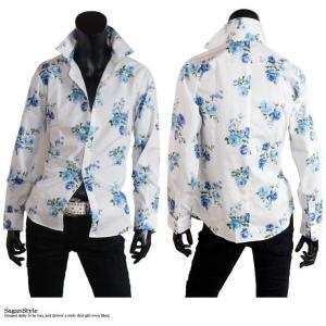 大花柄シャツ メンズ 花柄 薔薇柄 ドレスシャツ 日本製 ホワイト 白 ブルー 青 M L LL|saganstyle|08