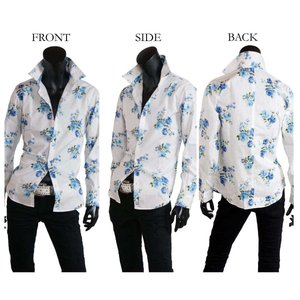 大花柄シャツ メンズ 花柄 薔薇柄 ドレスシャツ 日本製 ホワイト 白 ブルー 青 M L LL|saganstyle|09