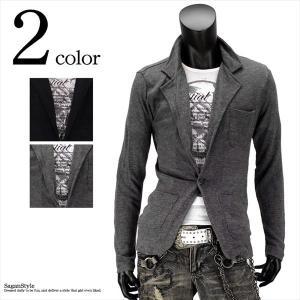 テーラードジャケット カットソー アンサンブル 1B  2枚組  メンズ M L|saganstyle