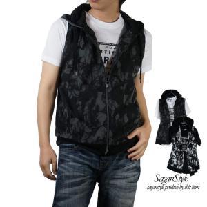 パーカーベスト ノースリーブ メンズ パーカー 半袖Tシャツ 半袖  2枚セット アンサンブル M L LL XL|saganstyle